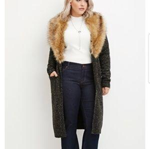Forever21+ faux fur long line cardigan